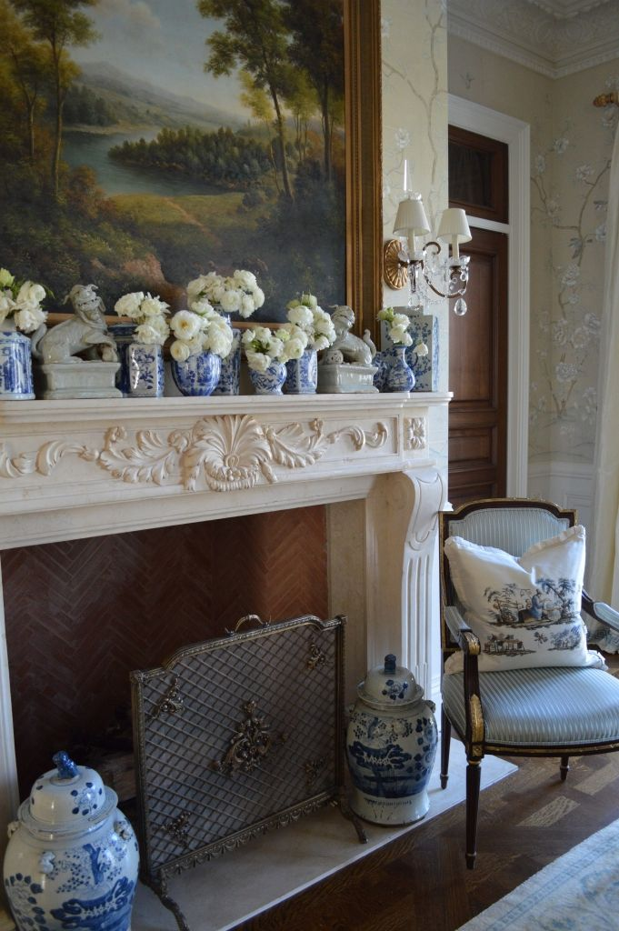 blue and white mantel in living room