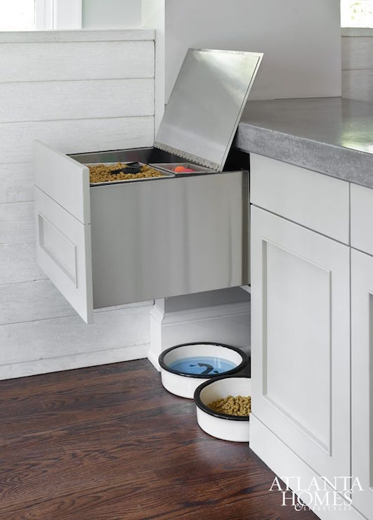 pet center in the kitchen with concrete countertop