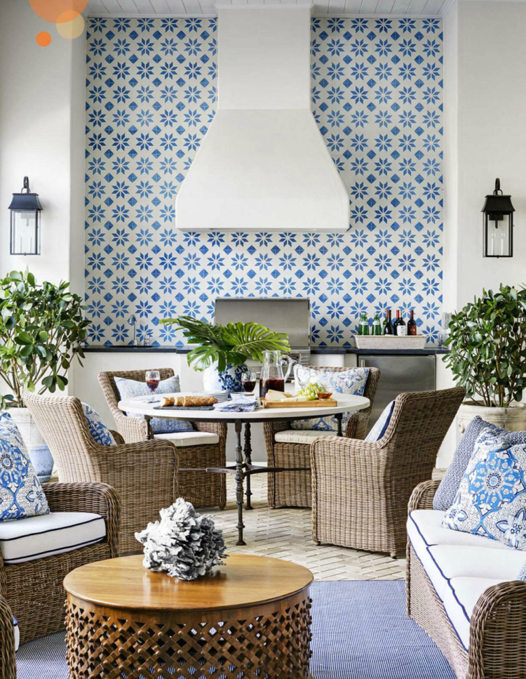 blue and white porch