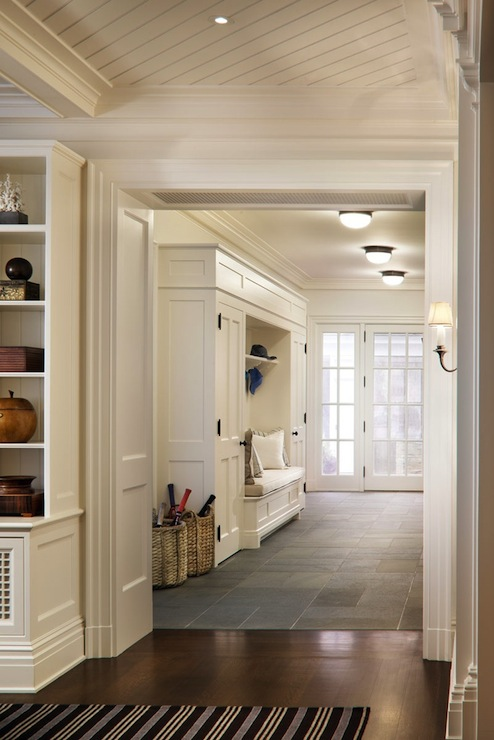 mudroom with flush mount light