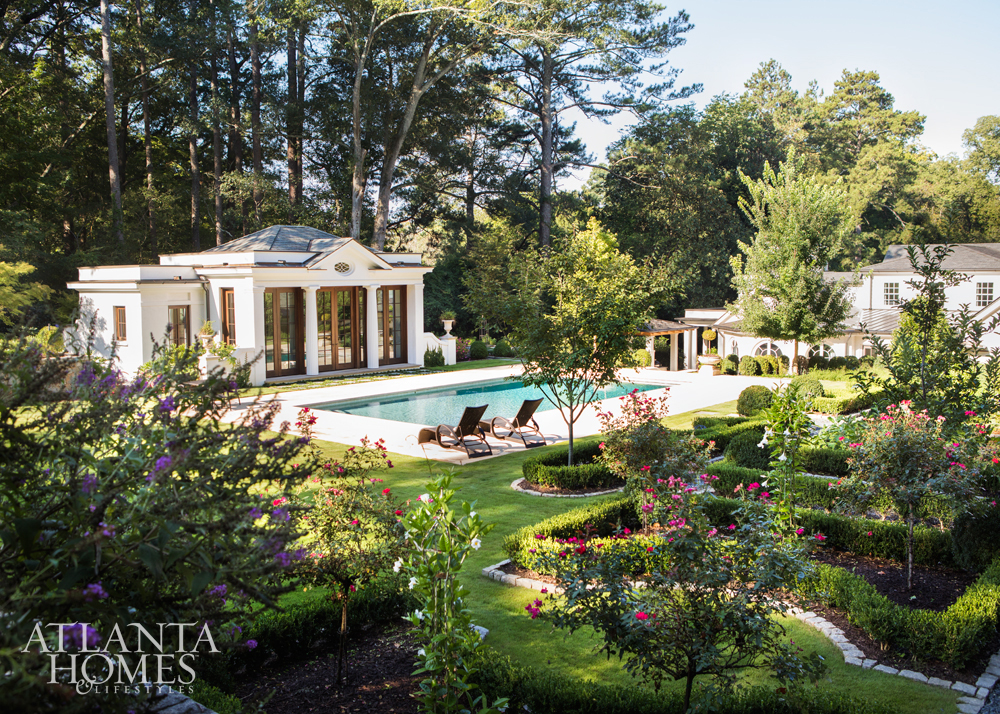 Suzanne Kasler Buckhead home - pool and garden