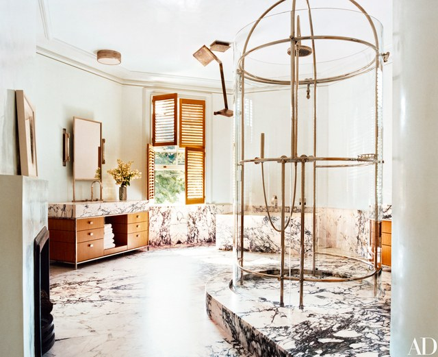 glass shower in bathroom.- Master Bath