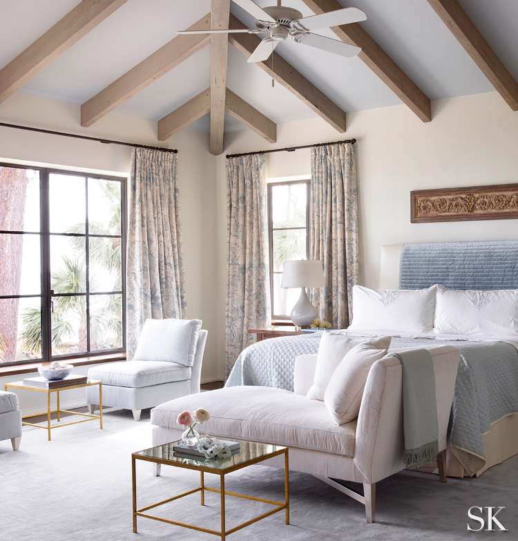 relaxing blue and white bedroom from Suzanne Kasler