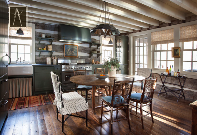 dining room with wood beams - James F. Carter Architect