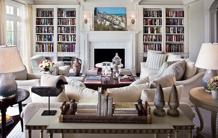 bookcase surrounding fireplace