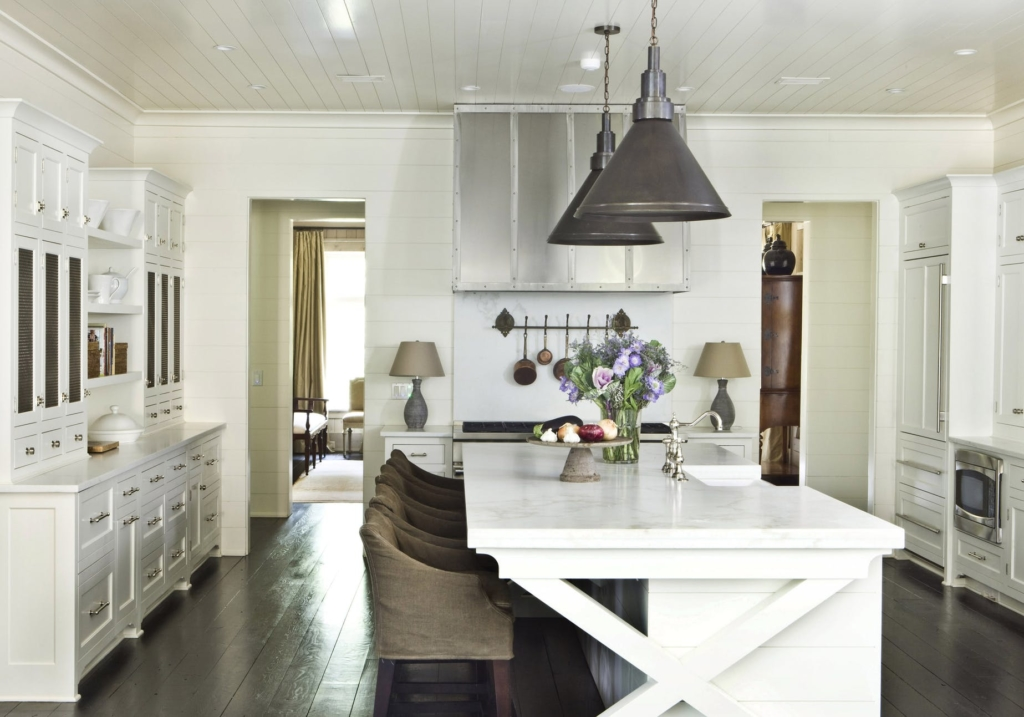 kitchens with pendant lights over marble island
