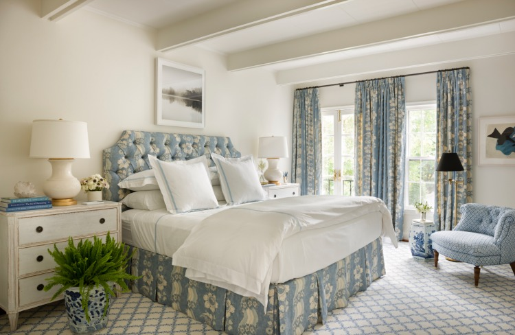 Georgetown Row house bedroom in blue and white