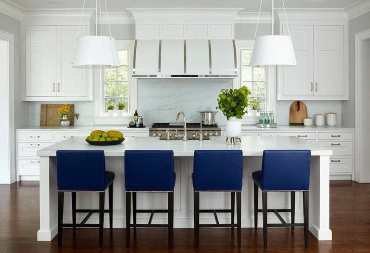 cobalt blue stools in kitchen