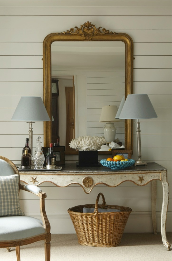 Ham Interiors  living room with pier mirror