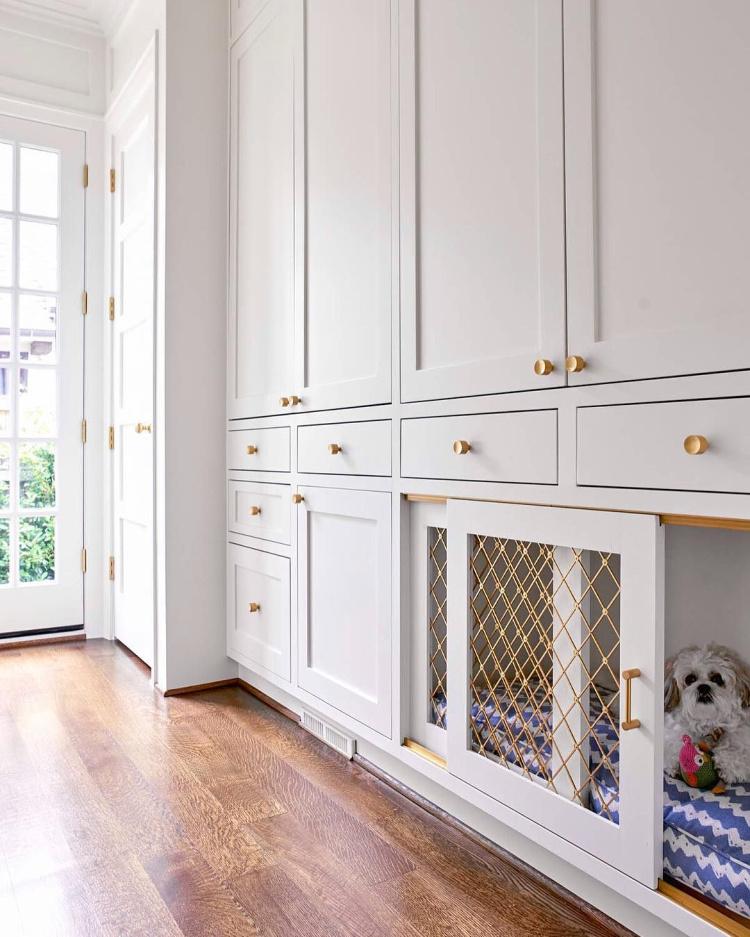 wire mesh doggie door - gray cabinets- collins interiors