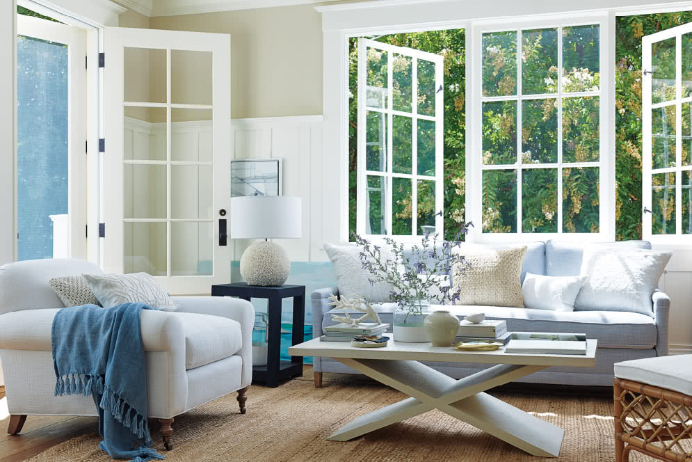 Serena & lily - blue and white- coastal living room