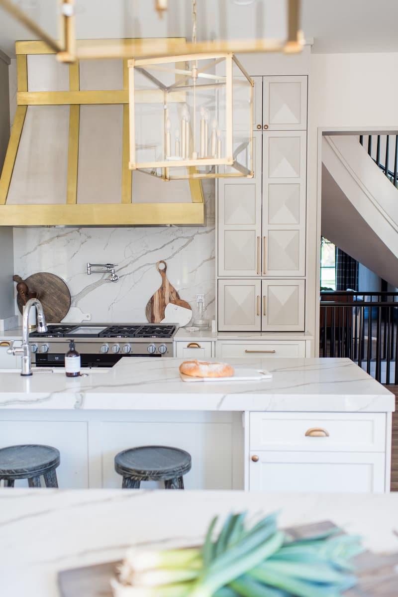 Whittney Parkinson Design kitchen hardware and brass lanterns