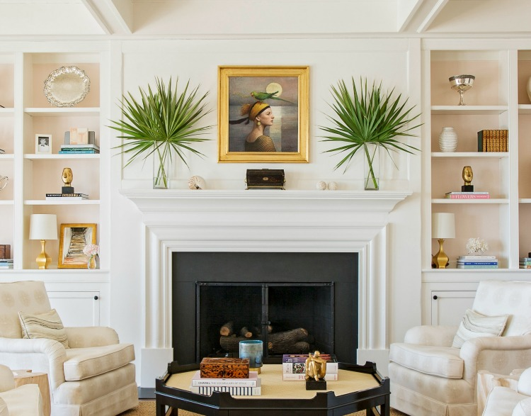 Allison Elebash designed Sullivan's Island living room with palm leaves and neutral decor