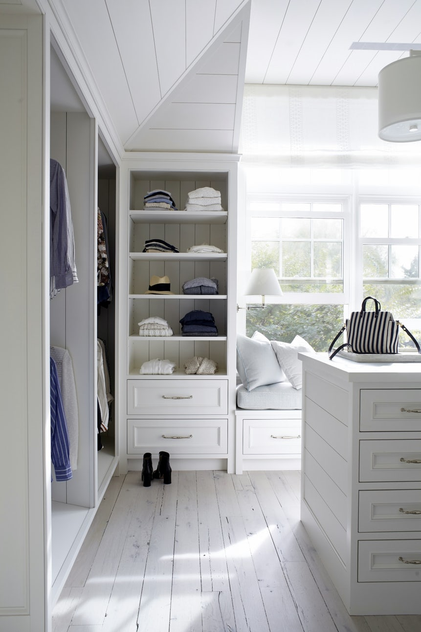 white shiplap in organized closets
