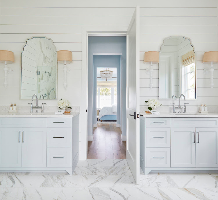 bathroom with double cabinets
