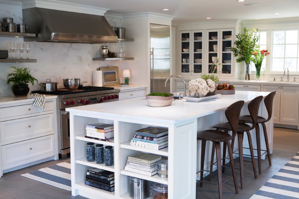 Sage Design kitchen with open shelving  and glass cabinets