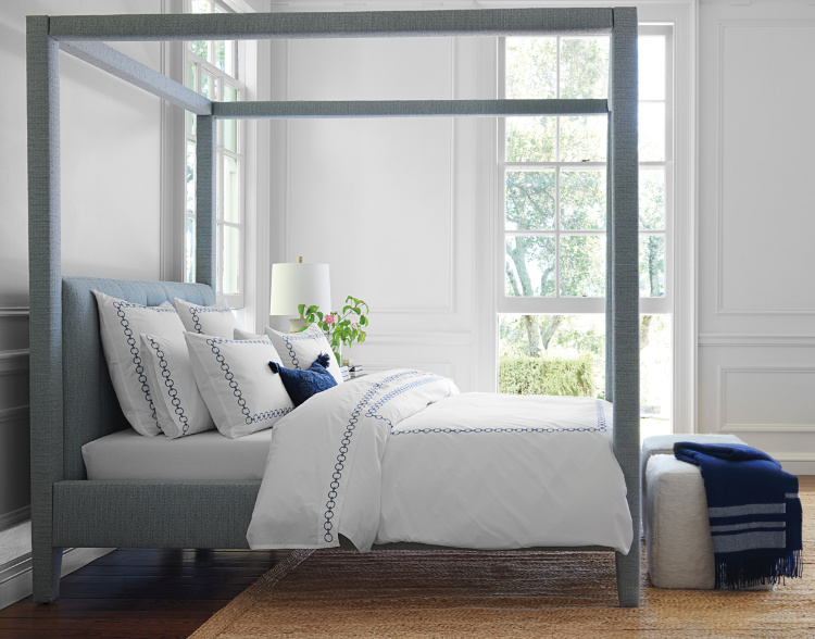 blend of blue and gray in bedroom