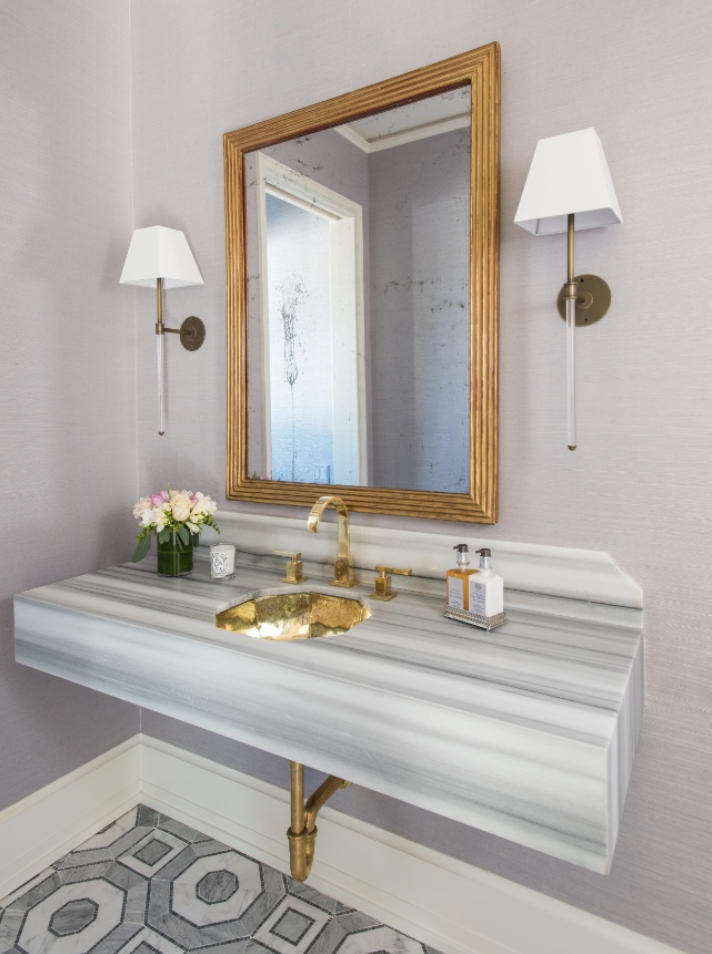 Munger interiors powder rooms with gold mirror