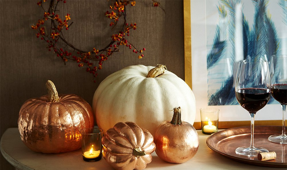 copper pumpkins with One Kings Lane