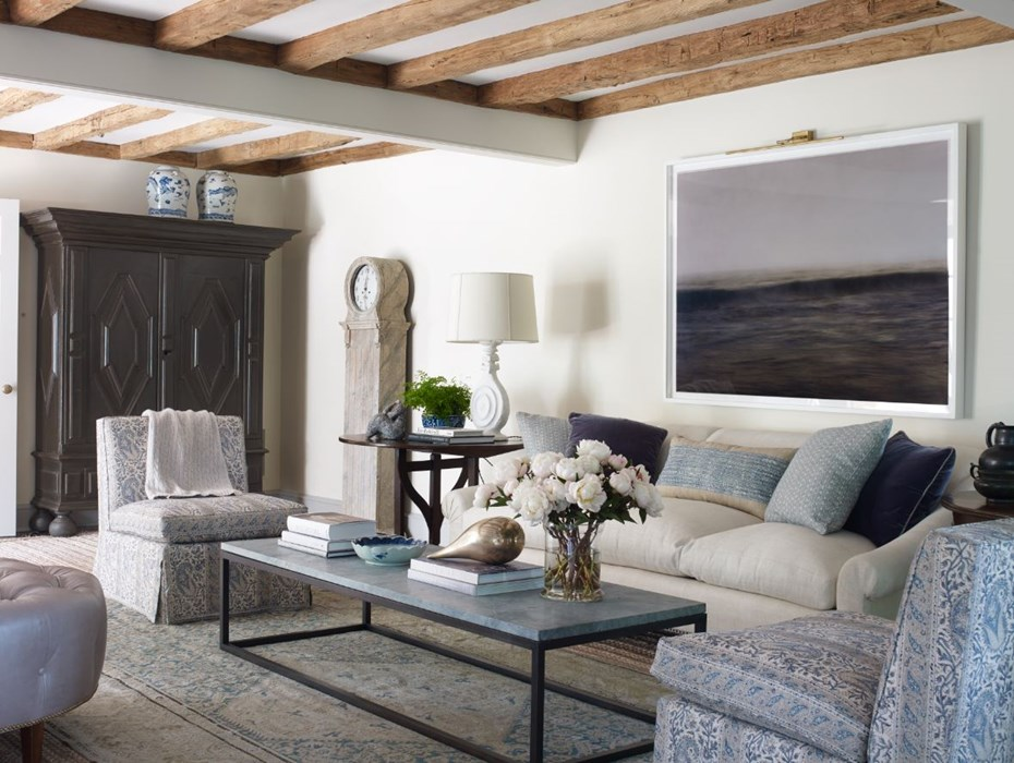 blue and white living room with wood beams Fairfield, Ct