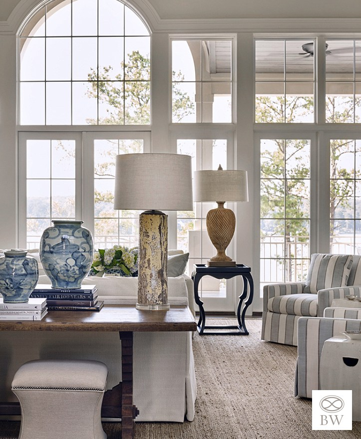 Pantone's classic blue paint color in Beth Webb living room at Reynolds Plantation