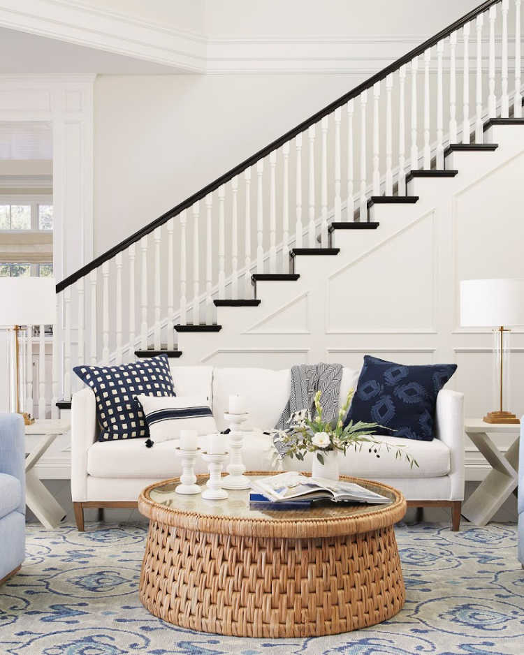Serena & Lily Spring Collection family room in blue and white