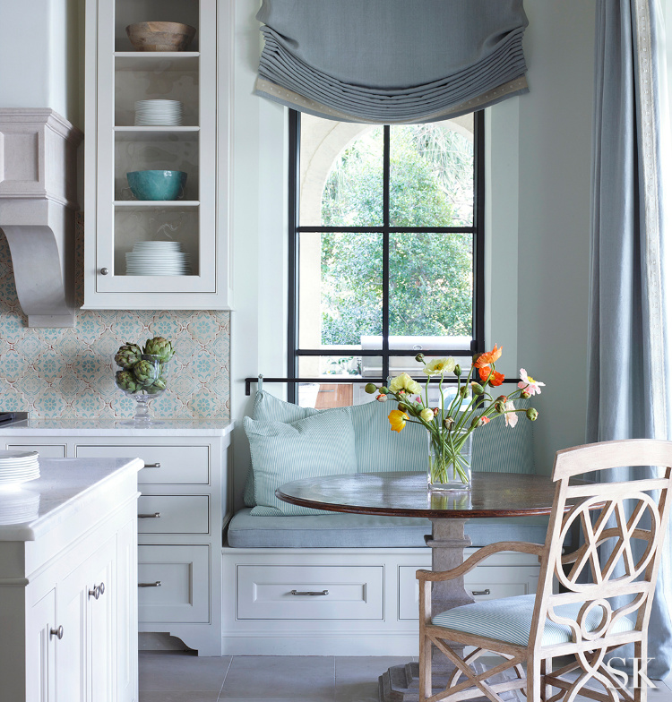 Top 10 Favorite Posts of 2019 kitchen blue and white with banquette