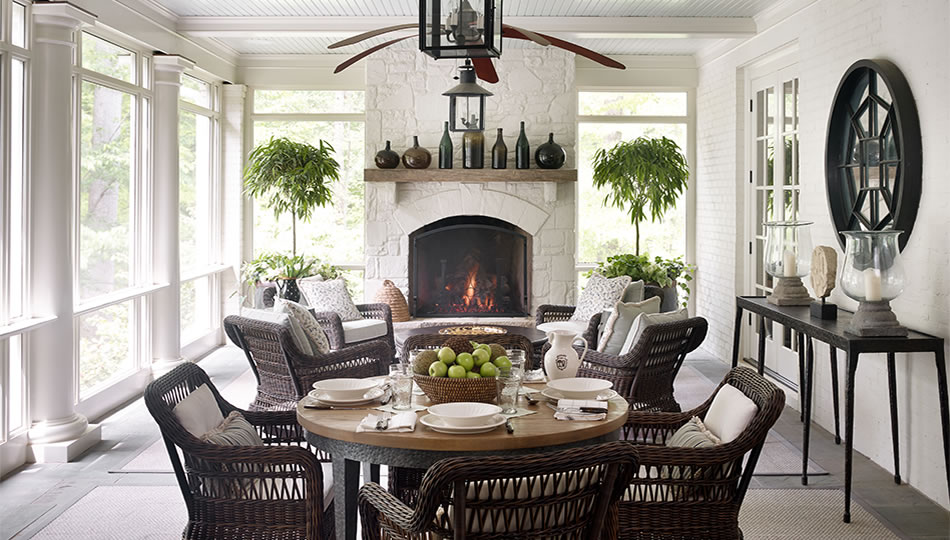 sunroom with dining table William Litchfield Designs