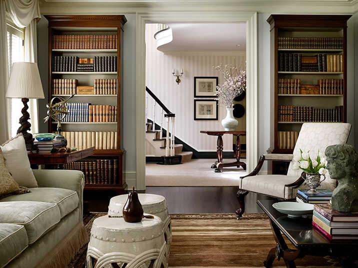 William Litchfield Designs living room with bookcases