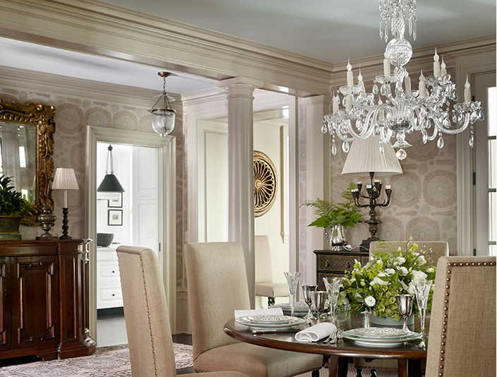 William Litchfield Designs dining room with crystal chandelier