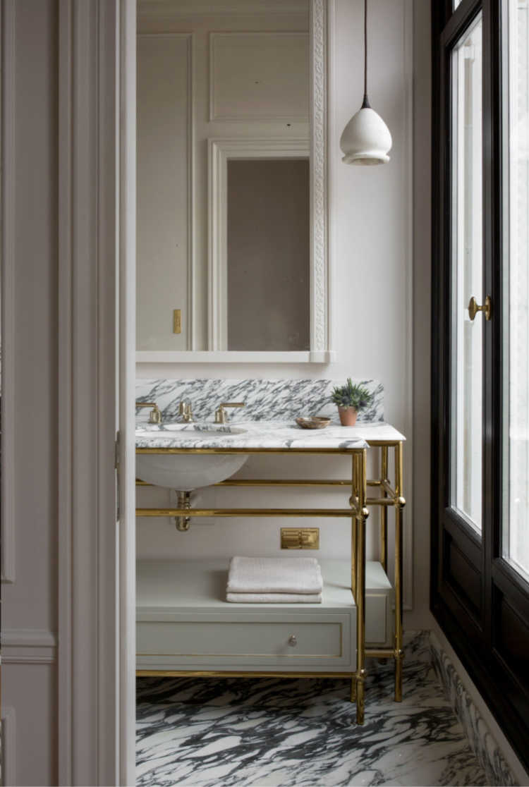 Christina Cole & Co bathroom with marble console sink