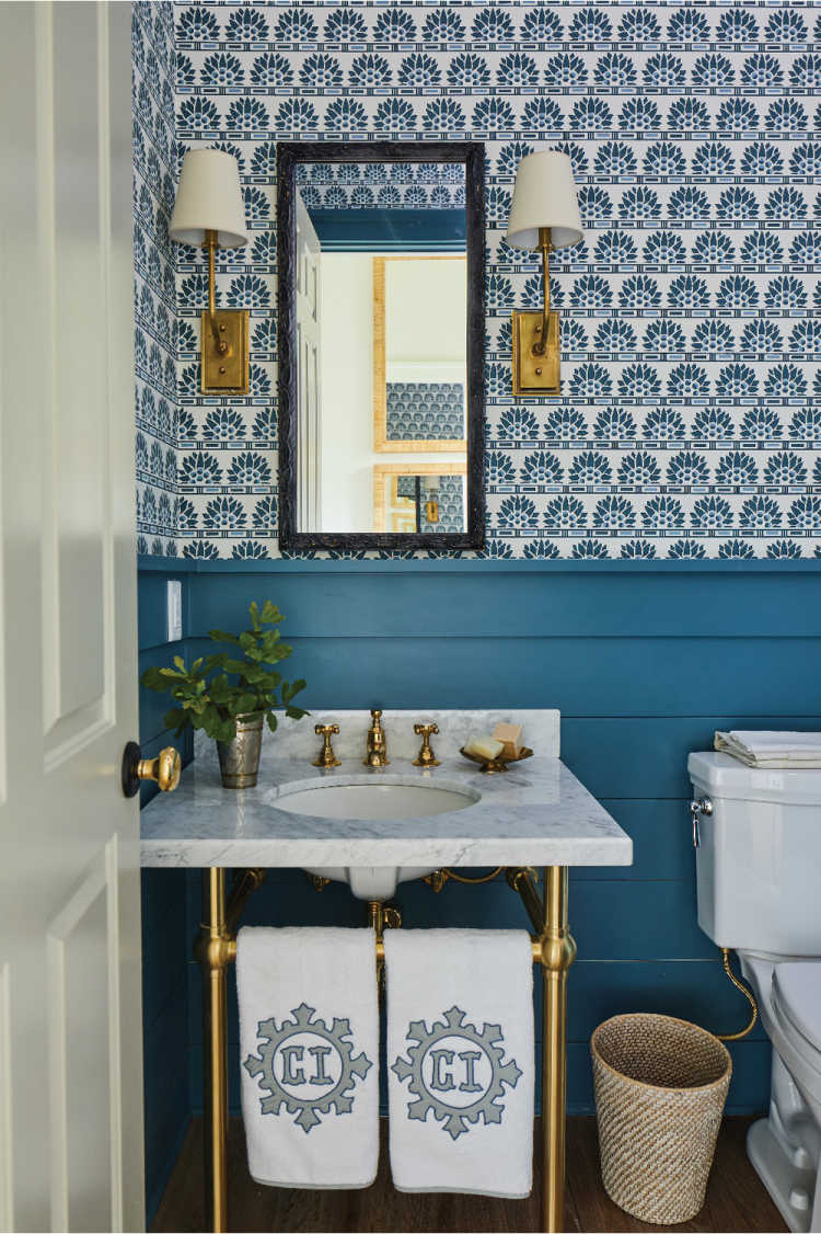 Southern Living Idea House by Heather Chadduck bathroom with console sink and blue and white wallpaper