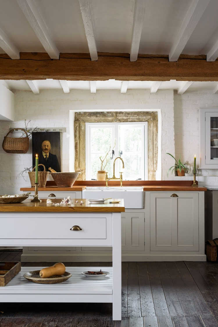 deVOL kitchens with beams and wood island