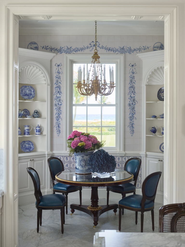 dining room in blue and white