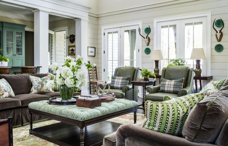C. Brandon Ingram Design Mallory Mathison Interiors hunting lodge living room