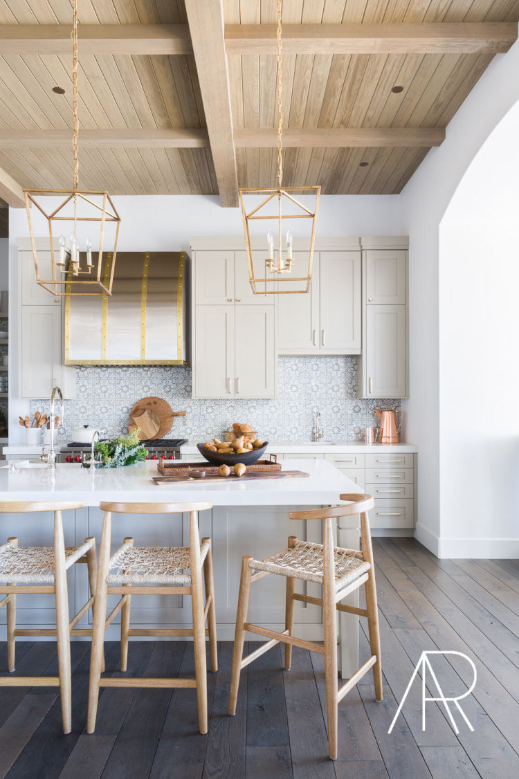 Alyssa Rosenheck blonde wood ceiling in kitchen
