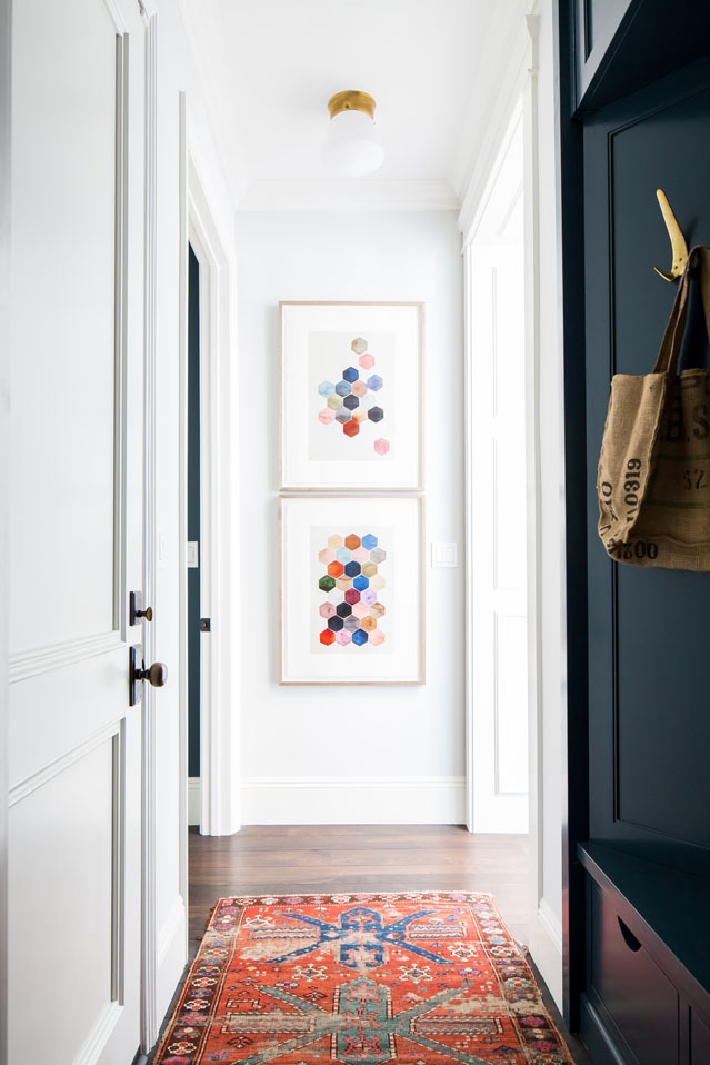 Red white and blue combination in Wendy Word designed hallway