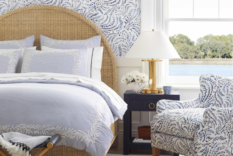 blue and white bedroom refresh with Serena & Lily