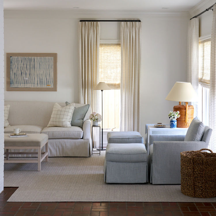 blue and white family room Amy Berry Interiors