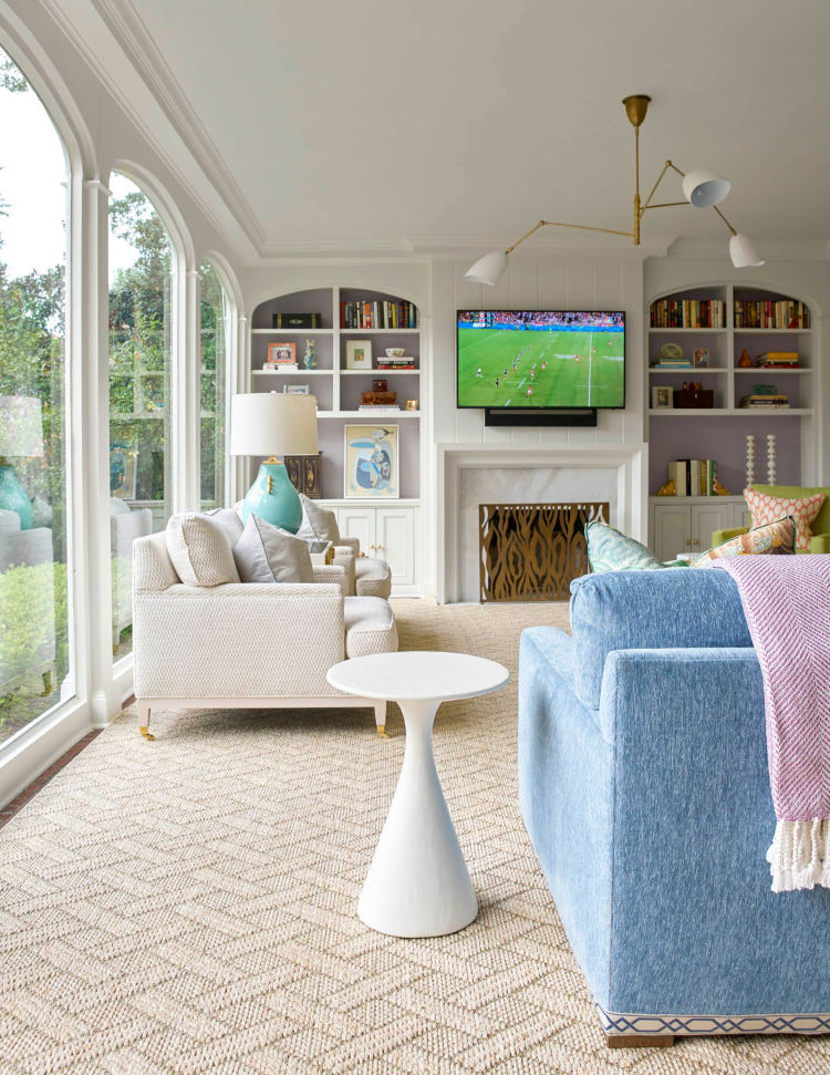 blue and white family room Jenkins Interiors