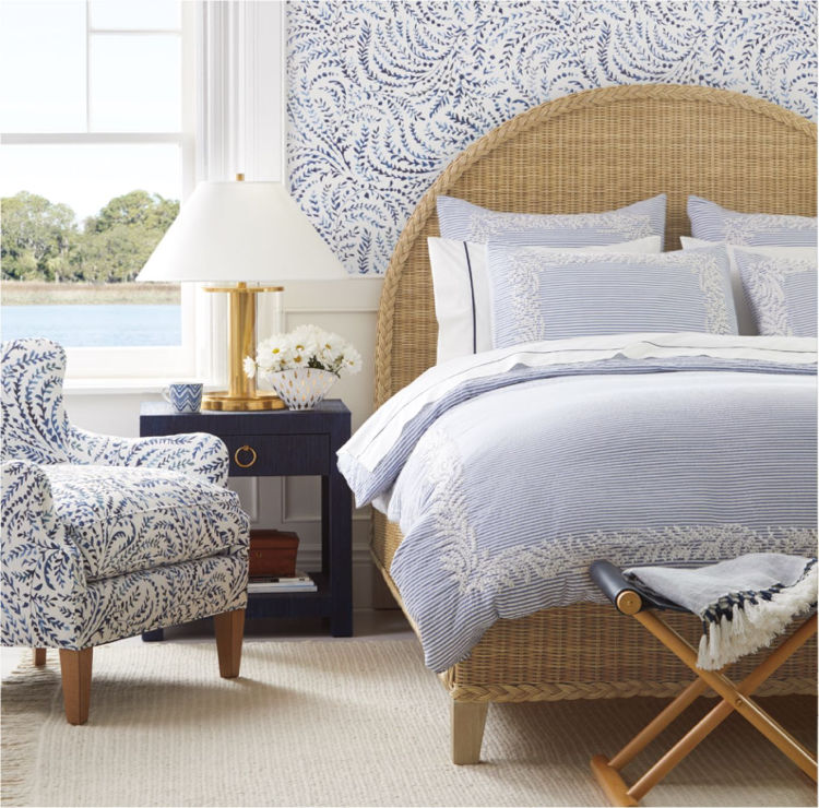 coastal inspired home with Serena & Lily - blue and white bedroom
