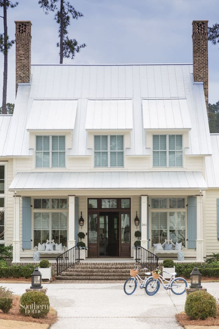 palmetto Bluff white clapboard house with dormers