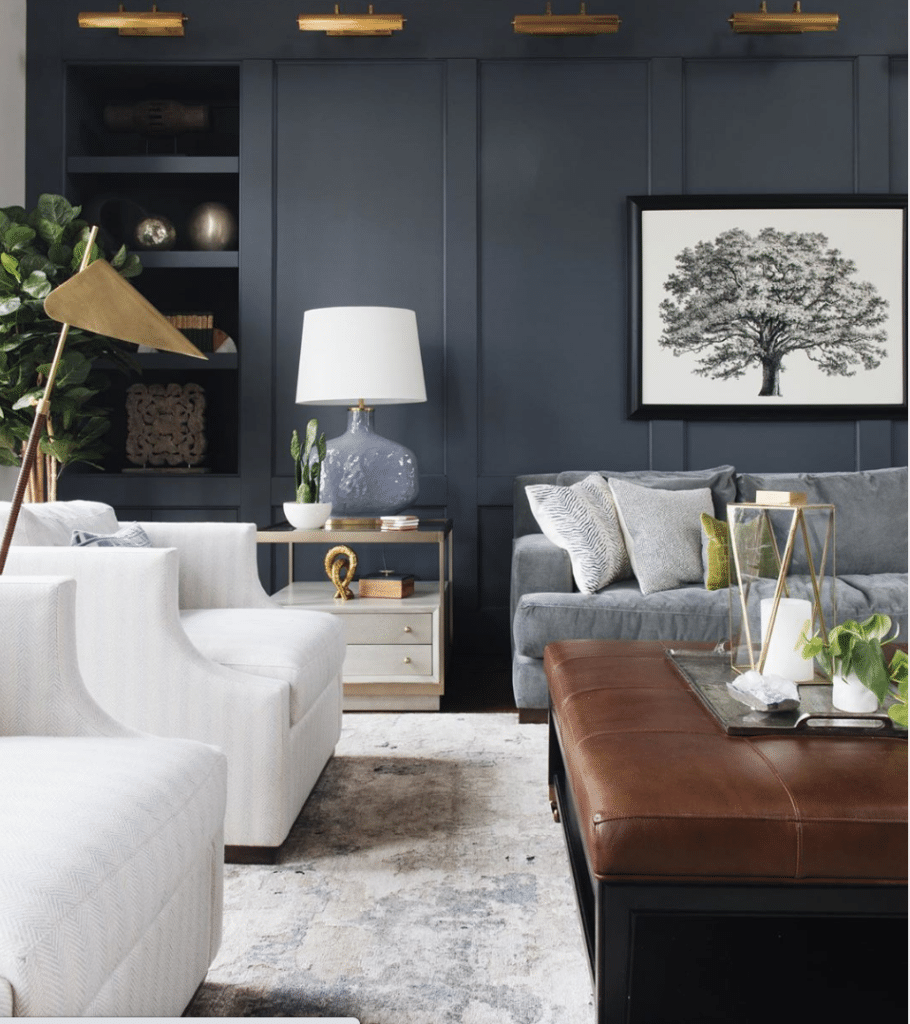 In Good Taste: Jean Stoffer Design paneled living room with library lights - Stoffer Photography Interiors