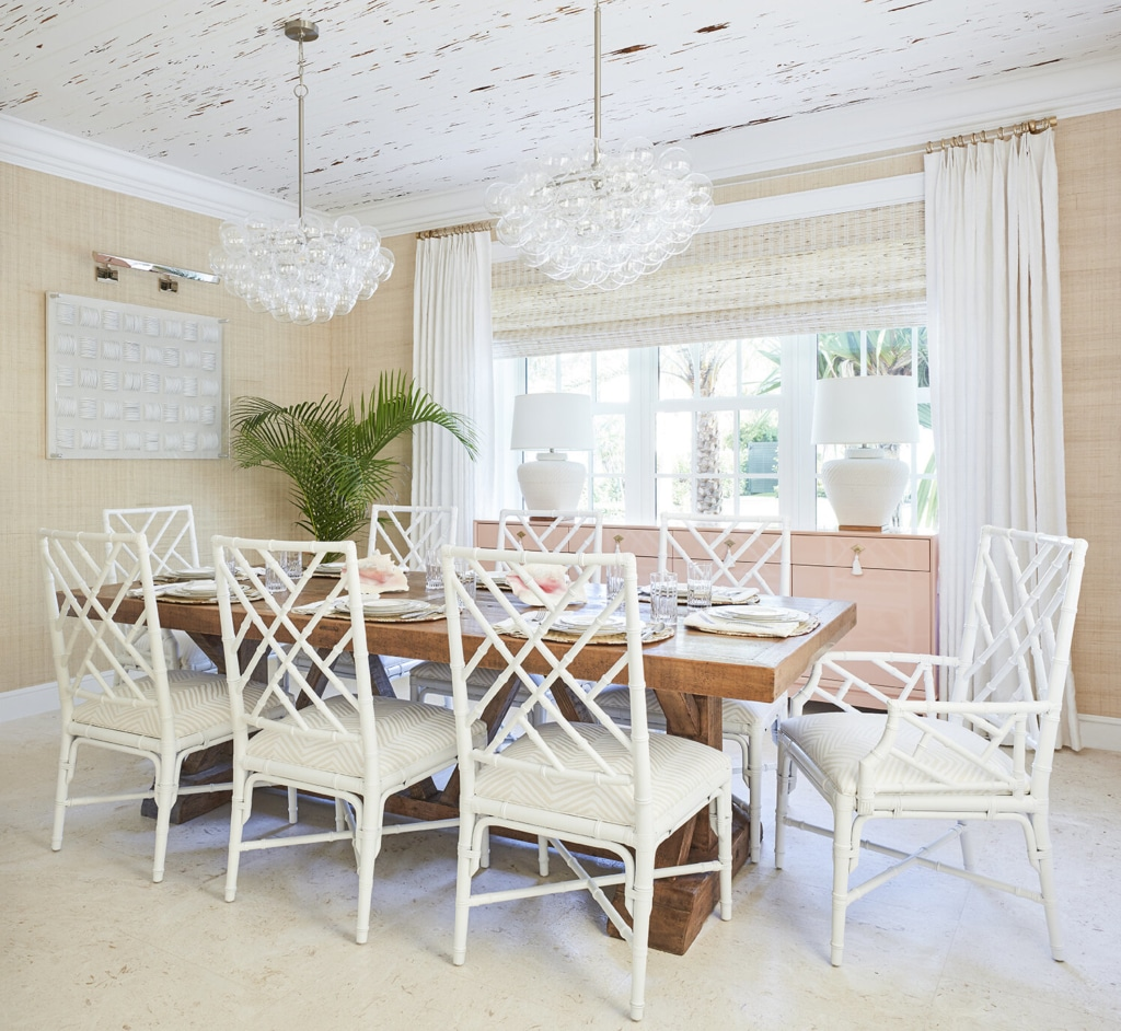 Kara Miller designed beach house with neutral palette in dining room