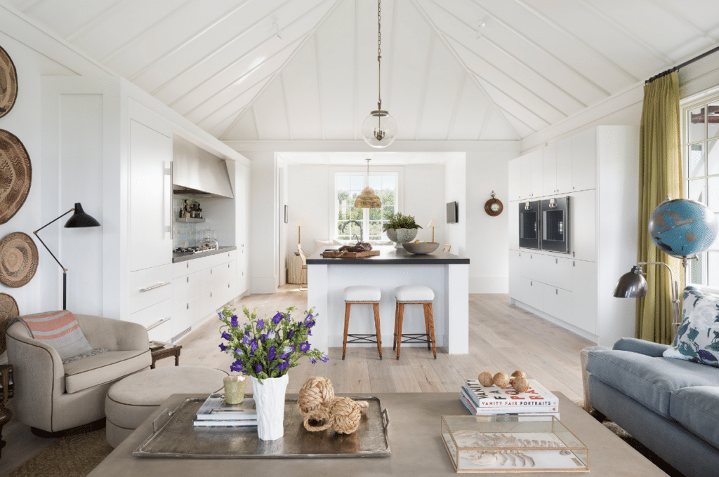 Jessica Glynn Photography kitchen with cathedral ceiling and shiplap