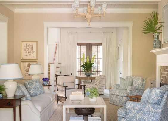 Sarah Bartholomew in Palmetto Bluff living room in blue and white