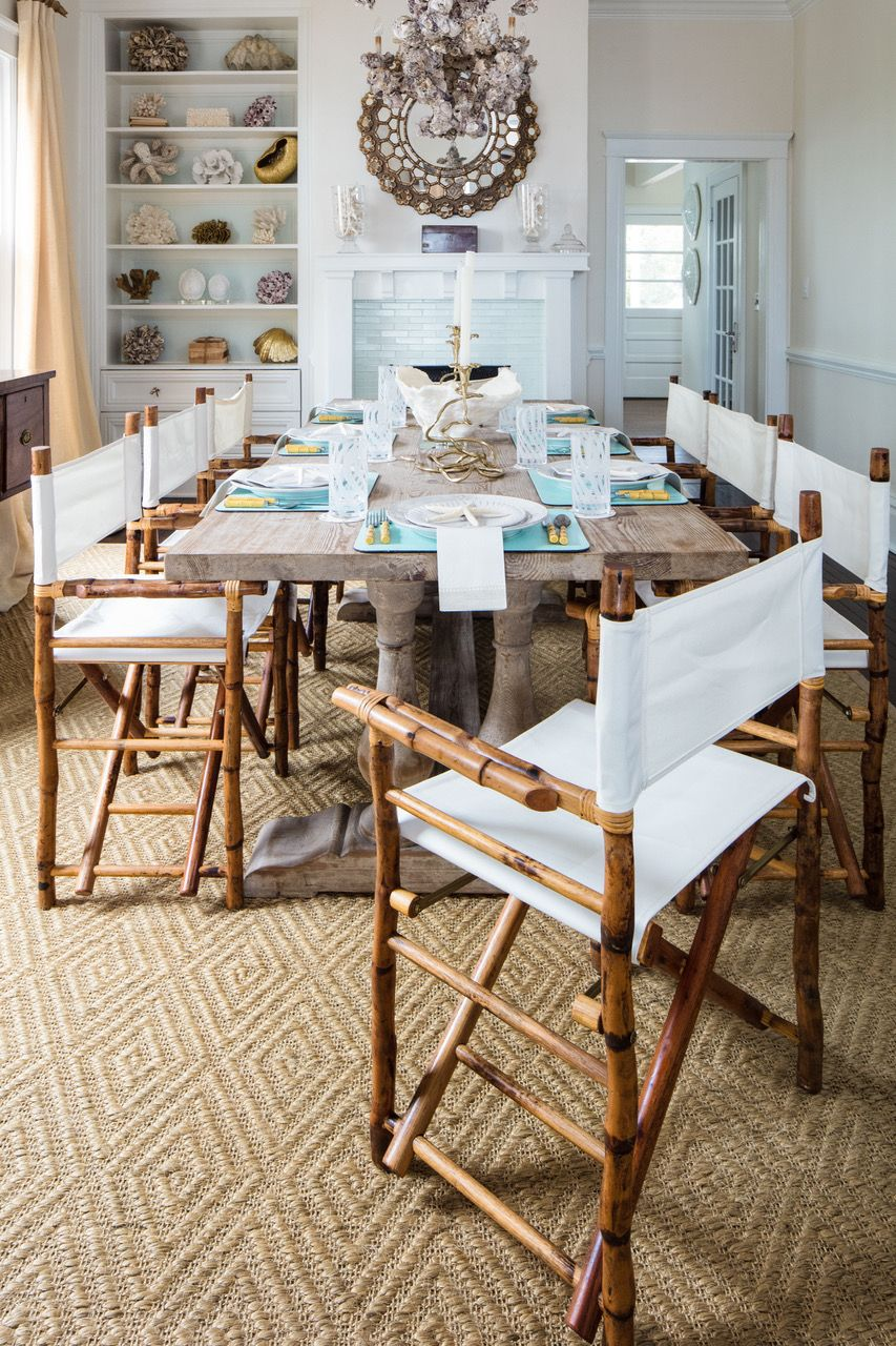 Kenian dining director's chairs in Beaufort dining room