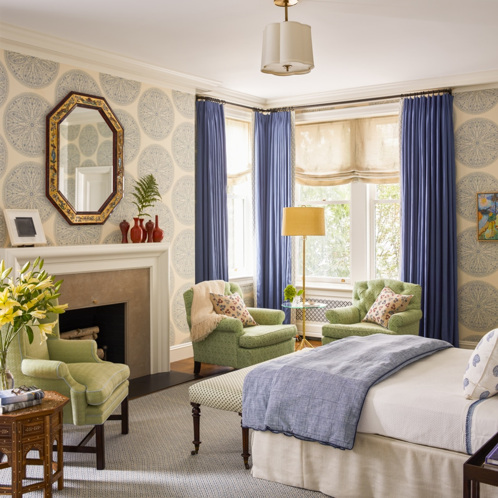Katie Ridder : More Rooms bedroom with blue and white wallpaper