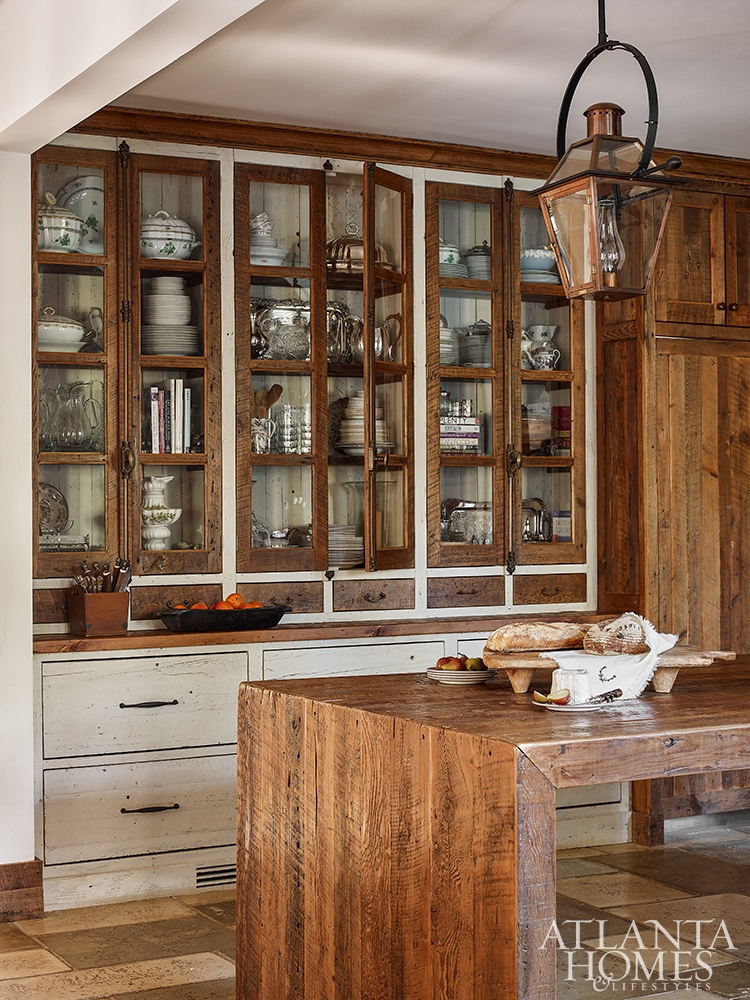 country house kitchen with glass front cabinets