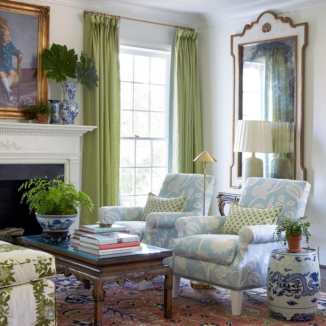 Caroline Gidiere living room in blue and white and green